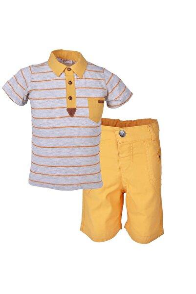 Midimod Erkek Bebek Yakalı Tişört Şort 2li Takım 0-2 Yaş 18508
