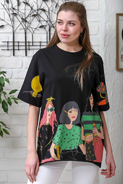 Chiccy Kadın Siyah Kol Ve Etek Ucu Baskılı T-Shirt M10010300TS98352