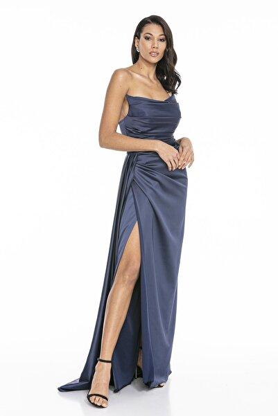 Abiye Sarayı Kadın Lacivert Straplez Yırtmaçlı Saten Abiye Elbise