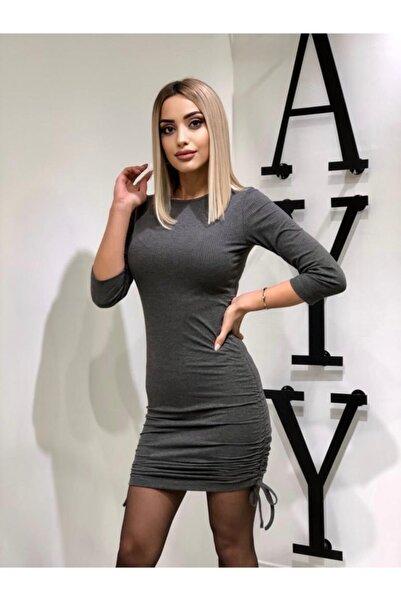 zayy Kadın  Gri Yuvarlak Yaka Elbise