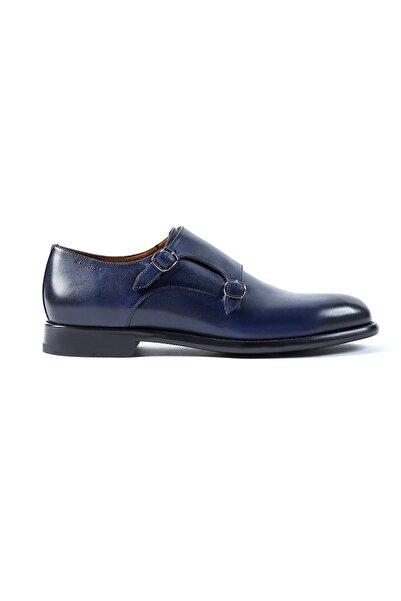 Hemington ErkekLacivert  Tokalı El Yapımı Deri Ayakkabı
