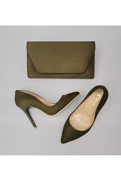 CassidoShoes Haki Süet Deri Stiletto Ve Çanta Takım