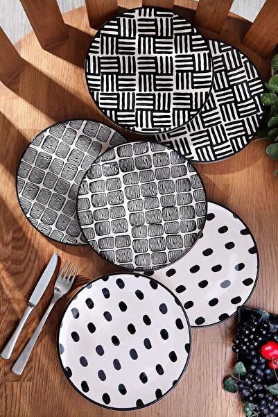 Kitchen Life Organik El Yapımı Tasarım 6'lı Seramik Pasta Servis Seti