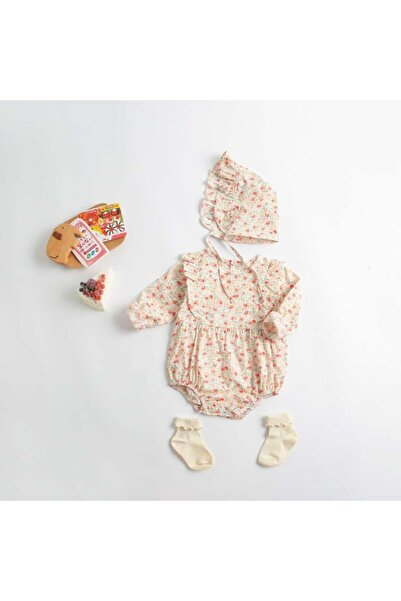 Little Honey Bunnies Kırmızı Çiçek Detaylı Romper Ve Şapka 2'li Takım