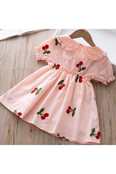 Little Honey Bunnies Kiraz Detaylı Somon Elbise