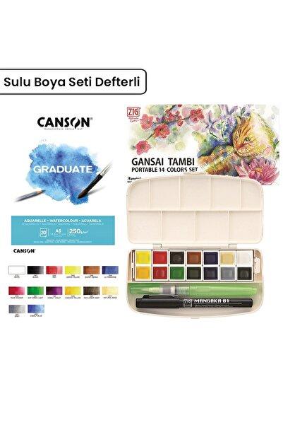 Zig Gansai Tambi Sulu Boya Set 14lü Defter + Su Hazneli Fırça + 0.1mm Mangaka (2)