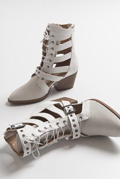 LuviShoes 2020 Beyaz Cilt Kadın Yazlık Bot