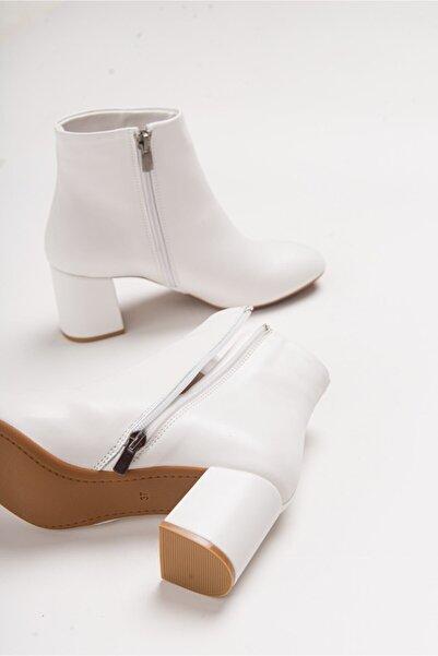 LuviShoes 4901 Beyaz Cilt Kadın Bot