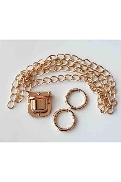 angel çanta aksesuar Light Gold Renk Ince Zincir Kare Kilit Set