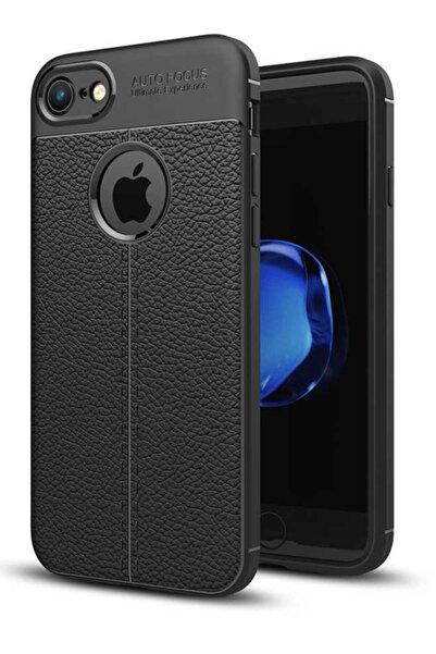 İncisoft Iphone 6 Plus/6s Plus Uyumlu Deri Görünümlü Darbe Ve Çizilmeye Dayanıklı Silikon Kılıf Siyah