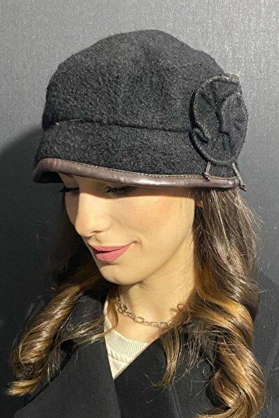 Bay Şapkacı Kadın Deri Kenarlı Bermuda Şapka 7752 Siyah