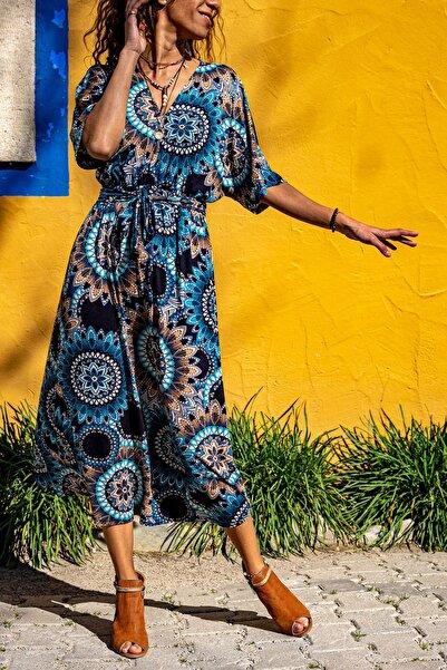Güneşkızı Kadın Mavi V Yaka Mandala Desen Beli Büzgülü Salaş Elbise GK-TD411