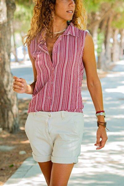 Güneşkızı Kadın Bordo Kolsuz Özel Dokulu Çizgili Gömlek GK-BST2878C