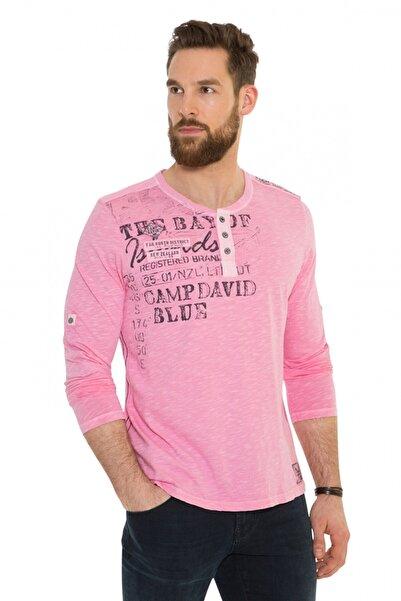 Camp David Erkek Uzun Kol Pembe T-shirt