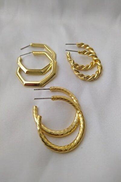 Kadın Altın Kaplama 3'lü Kombin Tasarım Küpe