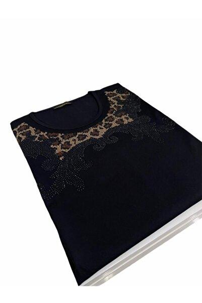 Elele Siyah Leopar Desen 0 Yaka Anne Penye Bluz