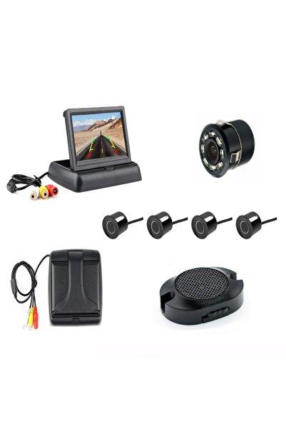 Mfk Siyah Açılır Kapanır Kameralı Park Sensörü 4.3'' ve 4 Adet Sensör