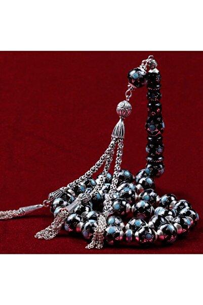 TESBİHCİBABA Koleksiyonluk Firuze Ve Gümüş Kakmalı Yussuri (Siyah Mercan) Tb8924