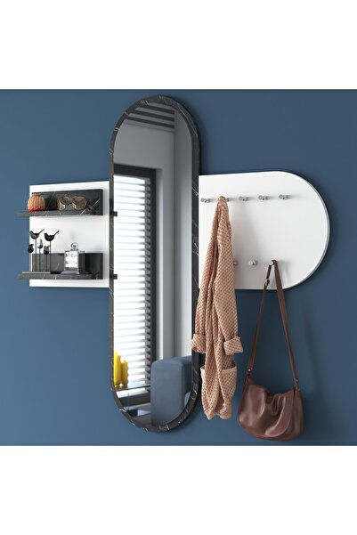 Rani Mobilya Rani P3 Aynalı Duvar Askısı Boy Aynası Mermer Desenli Beyaz Vestiyer