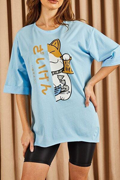 Hadise Kadın Mavi Çin Kedisi Baskılı T-shirt