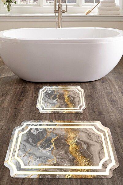 colizon 60x90 - 50x60 Style Dijital Banyo Halısı Lazer Kesim Klozet Takımı 2'li Paspas Seti