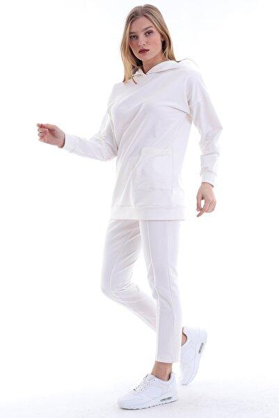 MODANESS Kadın Beyaz Cepli Kapüşonlu Tesettür Eşofman Takım 9045