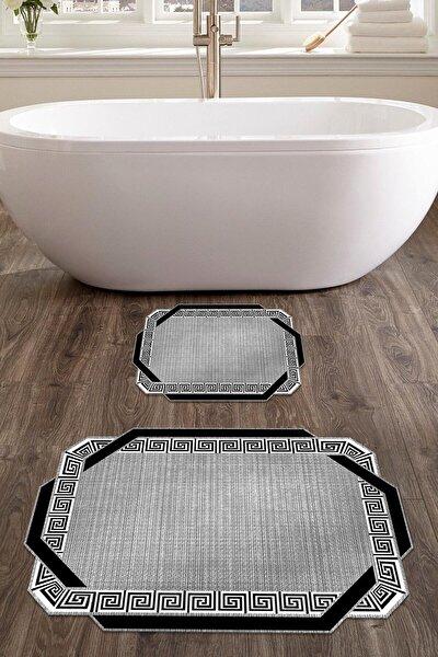 colizon 60x90 - 50x60 Etna Dijital Banyo Halısı Lazer Kesim Klozet Takımı 2'li Paspas Seti