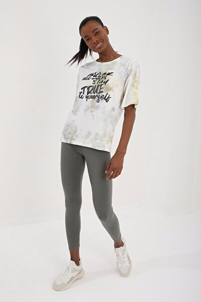 Tommy Life Sarı Kadın Yazı Baskılı Batik Desenli Oversize O Yaka T-shirt - 97125