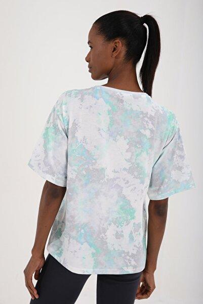 Tommy Life Yeşil Kadın Yazı Baskılı Batik Desenli Oversize O Yaka T-shirt - 97126