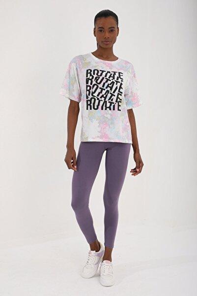 Tommy Life Pembe Kadın Yazı Baskılı Batik Desenli Oversize O Yaka T-shirt - 97126