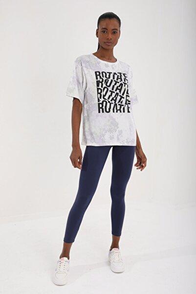 Tommy Life Mor Kadın Yazı Baskılı Batik Desenli Oversize O Yaka T-shirt - 97126
