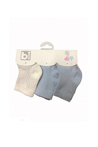 Bibaby Erkek Bebek Mavi Puanlı 3'lü Bebe Çorabı