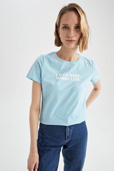 DeFacto Kadın Turkuaz Slogan Baskılı Pamuklu Relax Fit Kısa Kollu Tişört