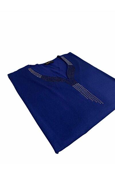Elele Kadın  Taş Baskılı V Yaka Mavi  Penye Bluz