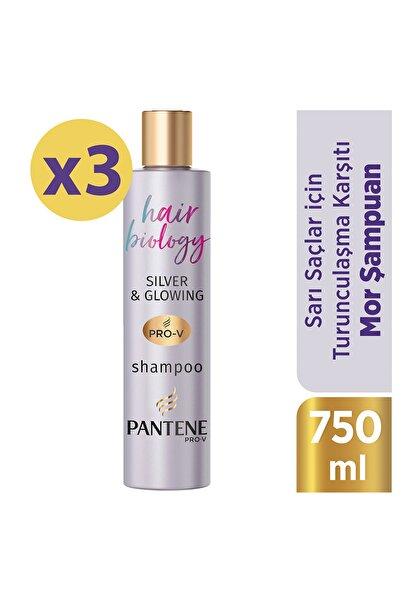 Pantene Hair Biology Turunculaşma Karşıtı Silver Mor Şampuan Sarı ve Gri Saçlar İçin 250ml X3