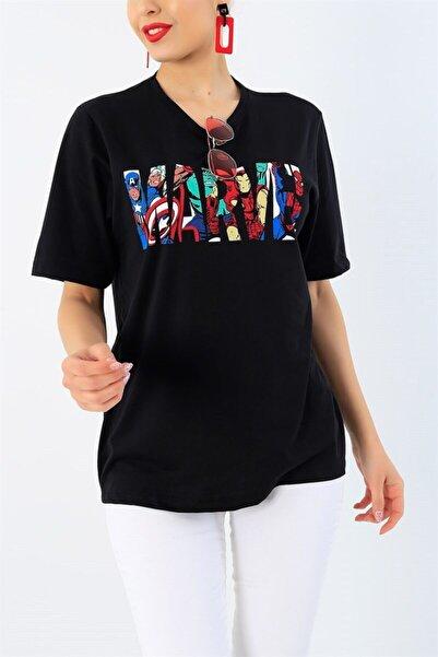 YGMR Fashion Kadın Siyah Karakter Baskılı Normal Kesim T-shirt