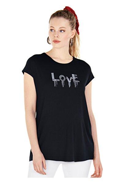 Ebru Maternity Kadın Siyah Hamile  T-Shirt 4664 -