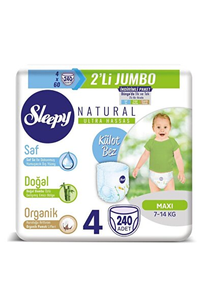Sleepy Natural Külot Bez 4 Beden Maxi 4x2'li Jumbo 240 Adet 7-14 Kg