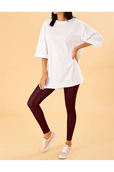 Pinkapple Kadın Beyaz Oversize Yırtmaçlı Katlamalı Kol T-shirt