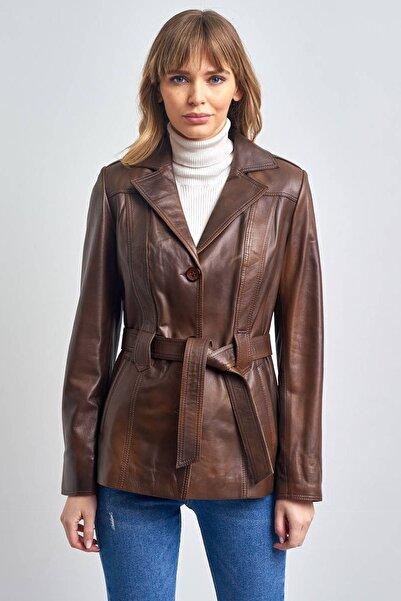 Pierre Cardin Kadın Fındık Deri Ceket