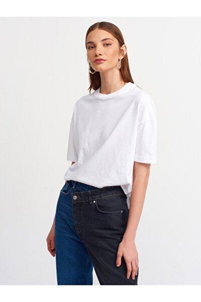 Dilvin Kadın  Beyaz Basic T-shirt 3683