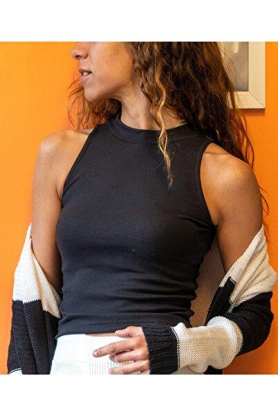 TAYHAN Kadın Siyah Fitilli Model Bisiklet Yaka Crop Top Kolsuz Kaşkorse T-Shirt
