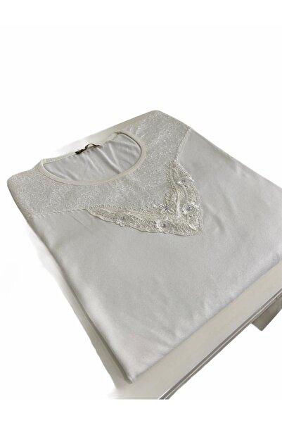 Elele Bayan Beyaz Dantelli Çiçekli Desen Anne Penye Bluz