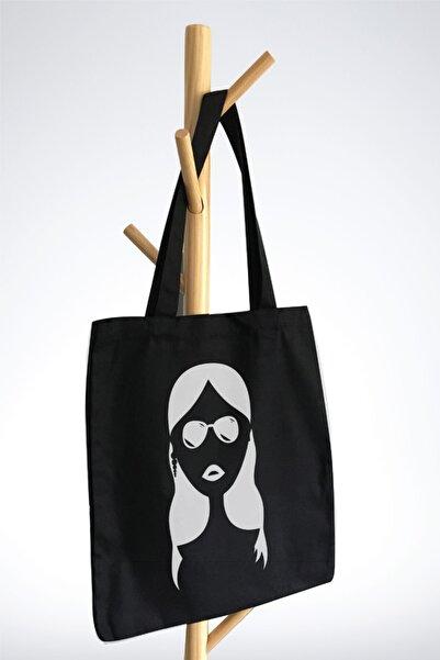 BEZ Tasarım Siyah Kanvas Bez Çanta