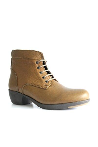 Beta Shoes Bot Hakiki Deri Kadın Hardal