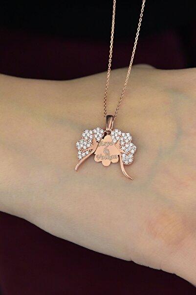 Papatya Silver 925 Ayar Gümüş Rose Altın Kaplama Isimli Yonca Kolye