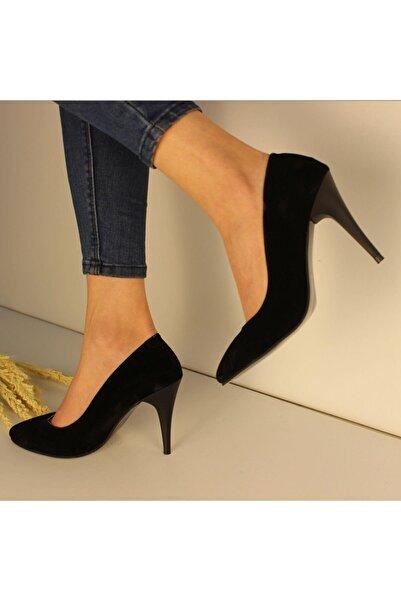 SerraTrend Kadın Siyah V Yaka Stiletto Ayakkabı