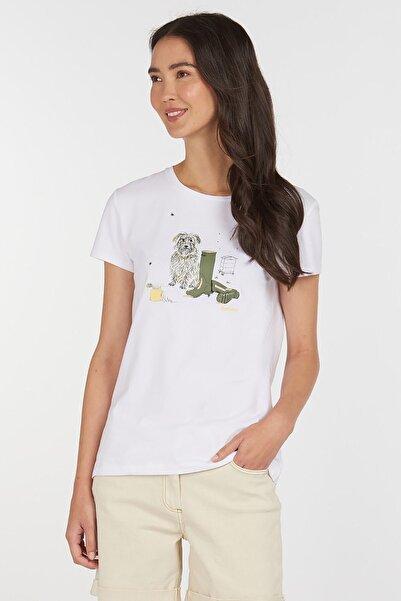 Barbour adın Beyaz Baskılı T-Shirt