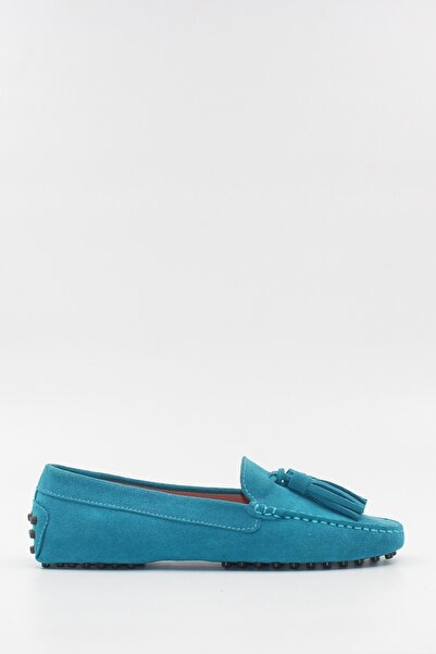 West To West Mavi Süet Loafer Ayakkabı