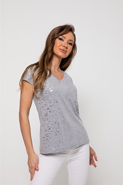 BEBE PLUS Kadın v Yaka Tshirt - Gri